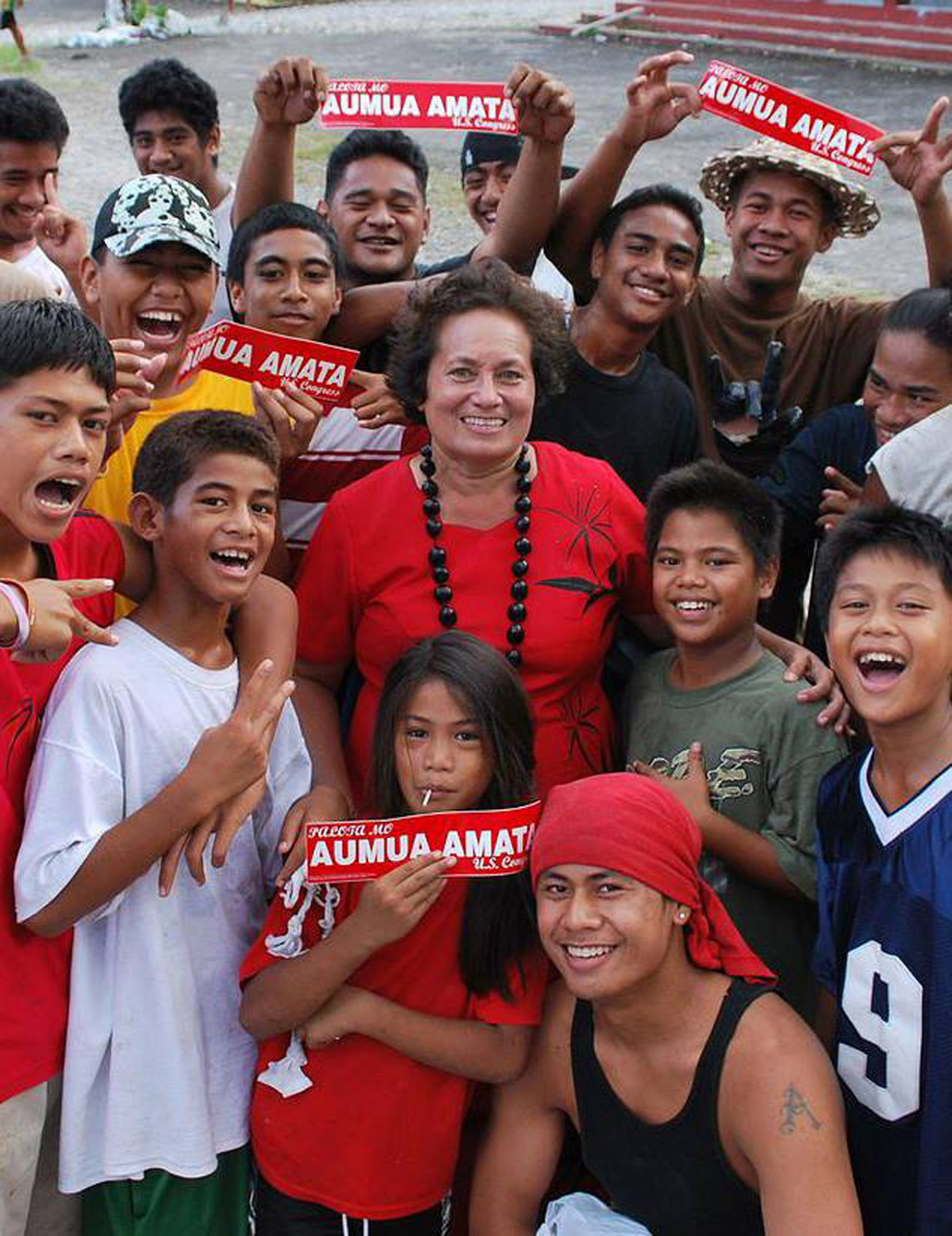 amata with campaigning kids